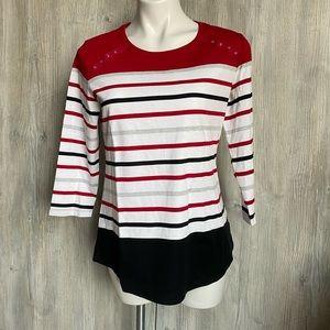 NWT Karen Scott top red/black/white size med